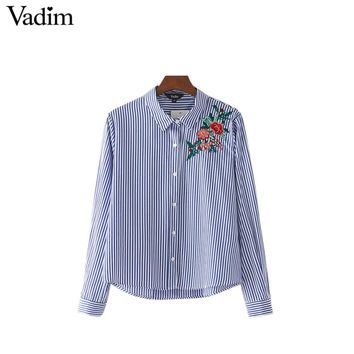 women cute floral embroidery striped shirts turn down collar long sleeve vintage blouse female casual tops