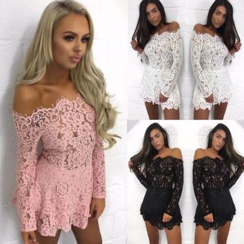 New Womens Summer Lace Long Sleeve Dress Party Evening Short Mini Dress Solid Slash Neck