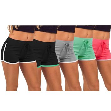 Fat Girl's Summer Solid Cotton Sports Shorts Yoga Large Size Hot Fitness Outdoor Exercising Running Workout Gym Sport
