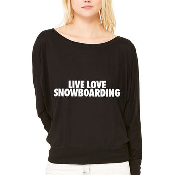 Live Love Snowboarding WOMEN'S FLOWY LONG SLEEVE OFF SHOULDER TEE