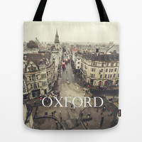 Red buses at Oxford Tote Bag by Architect´s Eye | Society6