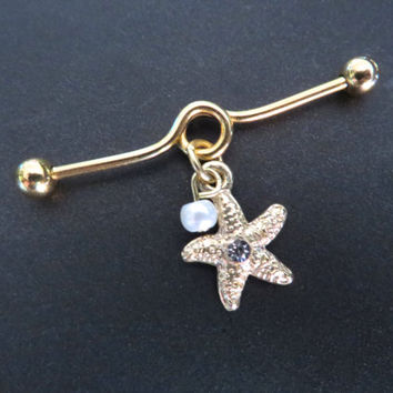 Industrial Barbell Piercing 14g Bar Gold Starfish Star Fish Pearl Crystal Ear Scaffold Earring Jewelry Dangle Charm Piercing