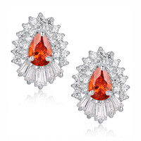 Red Teardrop and Clear Baguette and Round Cubic Zirconia Stud Earrings