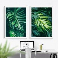 Tropical Plant Monstera Lemon leaf Nordic Posters And Prints Wall Art Canvas Painting Wall Pictures For Living Room Home Decor