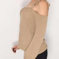 Women's Cold Shoulder Sweater Top