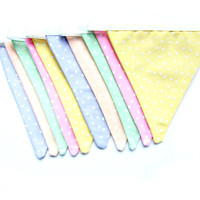 Pastel Rainbow Fabric Bunting - Fabric Garland, bright home decor, pastel garland, pastel bunting, fabric banner, party bunting
