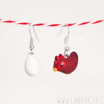 Chicken Earring Farm Animal Polymer Clay Handmade Jewelry Bird Unique Gift Cute Hen Handpainted Lady Charm Totem Brown Rustic Earrings Chick