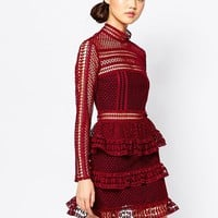 Self Portrait High Neck Lace Pannel Dress
