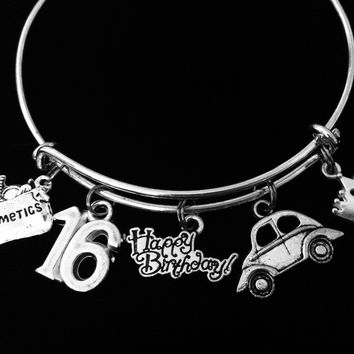 Happy 16th Birthday 16 Year Birthday Charm Bracelet Silver Expandable Adjustable Bangle Sweet 16 Car Make-up Princess Teen Girl Gift
