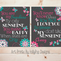 Nursery Wall Decor You are My Sunshine Bright Modern Baby Girl Nursery Pink teal Gray Nursery Butterfly Decor Toddler Girls Room #0993
