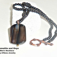 Mens Necklace : Hematite and Onyx