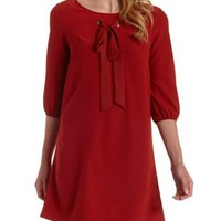 Rust Bow Front Shift Dress by Charlotte Russe
