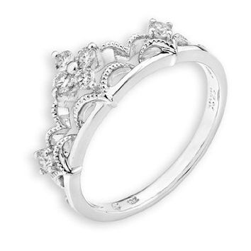 18k white gold crown of accents milgrain