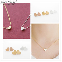 DIANSHANGKAITUOZHE Stainless Steel Necklace Jewelry Sets Bridesmaid Gift Gold Chains Heart Tattoo Choker Aros Earring Oorbellen