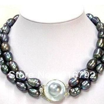 2 Row 11-13Mm Tahitian Black Baroque Pearl Necklace
