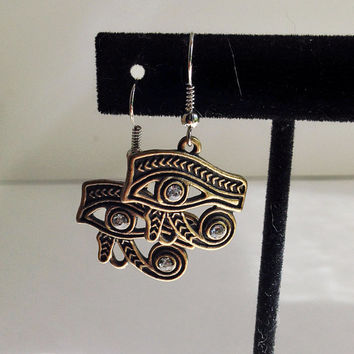 Eye of Horus, Bronze Dangle Earrings, Egyptian Jewelry, Wedjat Symbol, Halloween Costume Accessory, Eye of Ra, Sterling Silver Hook