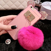 New Winter Rabbit Fur Phone Cover Muiltcolor Skin Case For iPhone 5 5S 6 6S Plus
