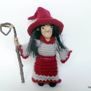 Crochet Doll Witch Dolls Amigurumi gift Valentine's Day Wine hat Witch hat Red-grey dress Crocheted toys  Amigurumi toys handmade gift
