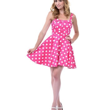 Pink & White Polka Dot Fit N Flare Dress - Unique Vintage - Prom dresses, retro dresses, retro swimsuits.