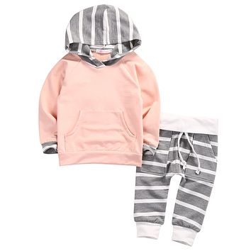 0-4Y Toddler Newborn Baby Boy Girl Clothes Long Sleeve Hooded T-shirt Tops +Striped Pant 2PCS Outfit Kids Clothing Set Tracksuit