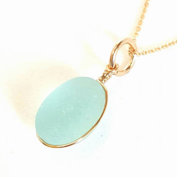 Blue English Sea Glass Necklace Wrapped In Gold
