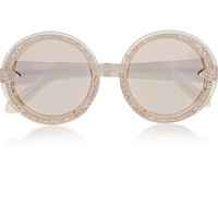 Karen Walker - Orbit Filigree round-frame gold-tone and glittered acetate mirrored sunglasses