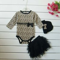 Leopard Baby Girls' 3-Piece Clothing Set Rompers + Tutu skirt Dress+Headband(hat) 100%Cotton 3-24 Months Girl Suit
