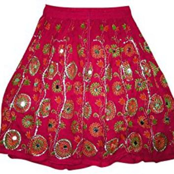 Mogul Women's Skirts Sequin Embroidered Bohemian Mini Skirt