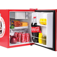 Coca Cola Mini Fridge w/ Top Ice Box Freezer, Compact Beverage Food Refrigerator
