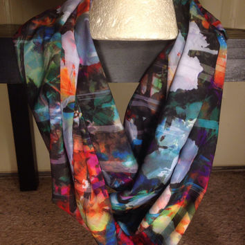 Floral print infinity scarf-Flower-Handmade Scarf-Women's Scarf-Infinity Scarf-Multi-Color Scarf-Fashion Scarf-Silk Scarf-Gifts for her