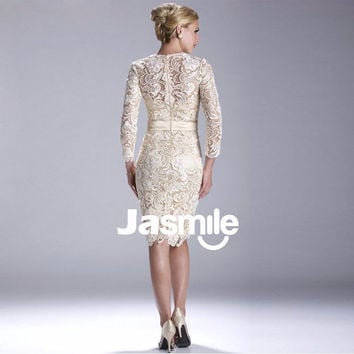 mother of the bride illusion sleeves embroidery lace evening dress
