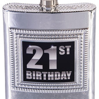 Silver Plastic Flask - 21st Birthday