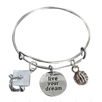 Volleyball Graduation Bangle Bracelet