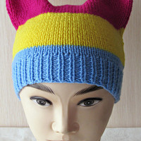 Pansexual Pride Hat, Pan Pride Pussyhat, Pansexual Beanie, Pan Cat Hat, Knit Pussy Hat, Striped Beanie, Cat Ear Hat, LGBT Pride, LGBT Hat