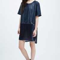 Little White Lies Raine Faux Leather Velvet Dress in Navy - Urban Outfitters