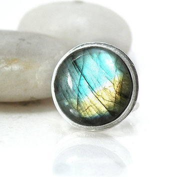 Sterling Silver Labradorite Large Round Cocktail Ring Blue Yellow Green Stone Statement Jewelry Size 7 - Light Lead My Way