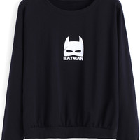 Black Batman Print Sweatshirt