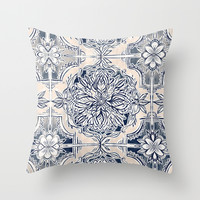 Brush and Ink Watercolor Pattern in Indigo and Cream Throw Pillow by Micklyn