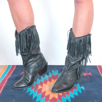 Black Leather Fringe Boots Size 6 6.5 | 80s womens vintage cowboy western boho Dingo boots | biker southwestern cowgirl boots 6.5 size 6