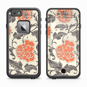 Vintage Tangerine Queen Peony On Tan Surface Skin for the Apple iPhone LifeProof Fre Case