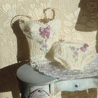 OOAK-Dollhouse Embroidered Ladies Corset and panties . 1:12 Miniature Lingerie for Dollhouses.