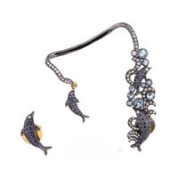 diamond blue sapphire fish shaped cuff earrings