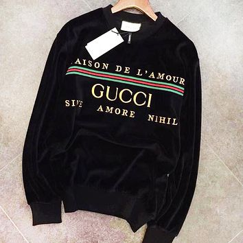 GUCCI Autumn Winter Velvet Embroidery Warm Round Collar Cute Sweatshirt Sweater