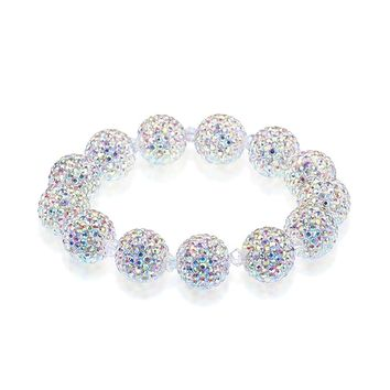 RIVERTREE Hign End Designer Swarovski Crystal Beads Disco Ball Shamballa Bracelet For Women - Elastic 18cm - Iridescent Glitter AB Rainbow Effect