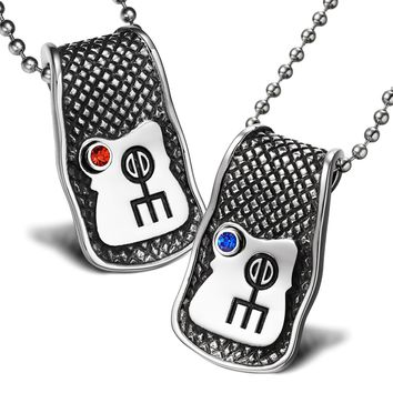 Unique Rune Norse Love Powers Couples or Best Friends Magic Amulets Set Blue Red Crystals Necklaces
