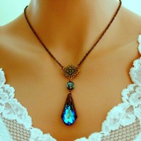 Peacock Blue Necklace VICTORIAN Antiqued Brass Wedding Jewelry Bridal