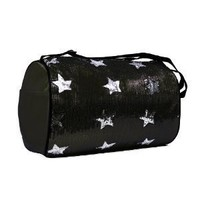 Dance Bag- Sequin Star Round Duffel Choose From Fuschia Pink, Purple, Green, Black or Aqua