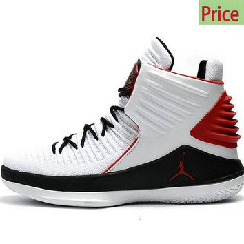 casual shoes ventilated Air Jordan 32 XXXII High White-Black Varsity Red sneaker