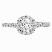 1 1/8ct tw Diamond Halo Engagement Ring in 14K White Gold - Engagement Rings
