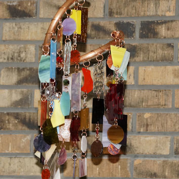 Stained Glass - Colored Glass - Wind Chimes - Sun Catcher - OOAK Copper Chaos